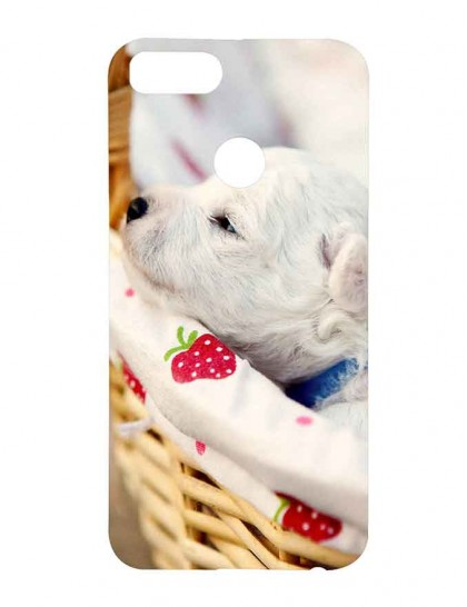 Cute White Puppy - Xiaomi Mi A1 Printed Hard Back Cover.