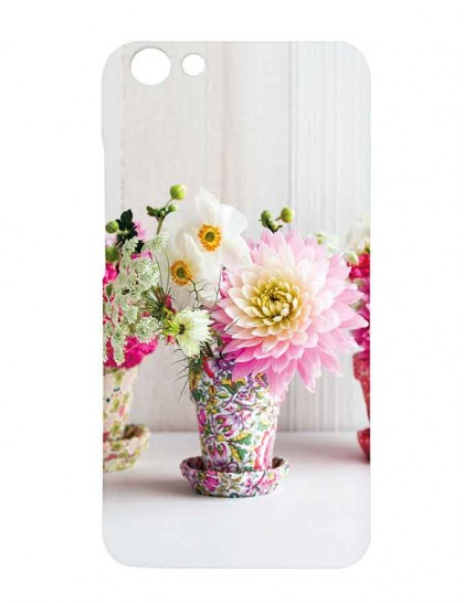 Colorful Flower Pot With Colorful Flowers - Vivo Y69 Printed Hard Back Cover.