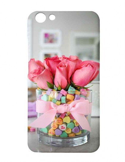 Candy Heart Valentine Bouquet - Vivo Y69 Printed Hard Back Cover.