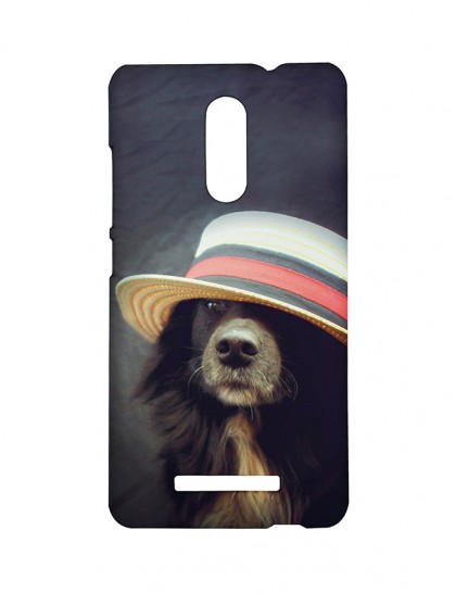 Black Dog With Hat - Xiaomi Redmi Note 3 Printed Hard Back Cover.