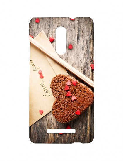 A Slice Of Heart Shaped Cake And A Greeting -Xiaomi Redmi Note 3 Printed Hard Back Cover.