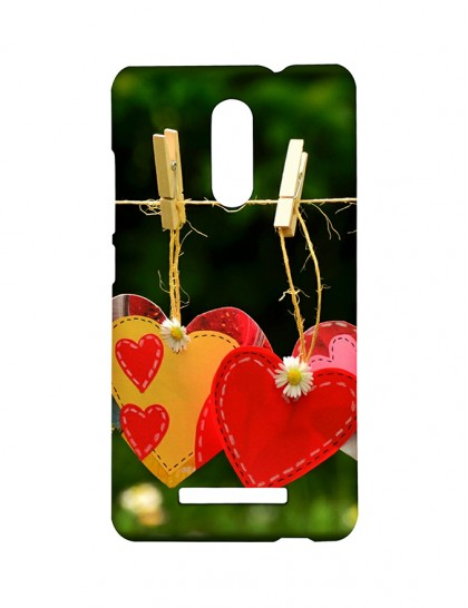Cloth Clips With Heart Design Hangings -Xiaomi Redmi Note 3 Printed Hard Back Cover.