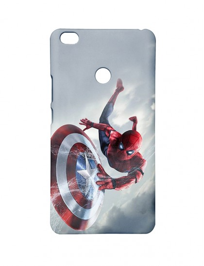 new style b1fbd 936d4 Spiderman With Captain America Shield - Mi Max Printed Hard Back Cover.