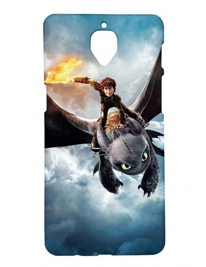 Hiccup & Toothless Flying - One Plus 3 / 3T - Printed Back Cover.