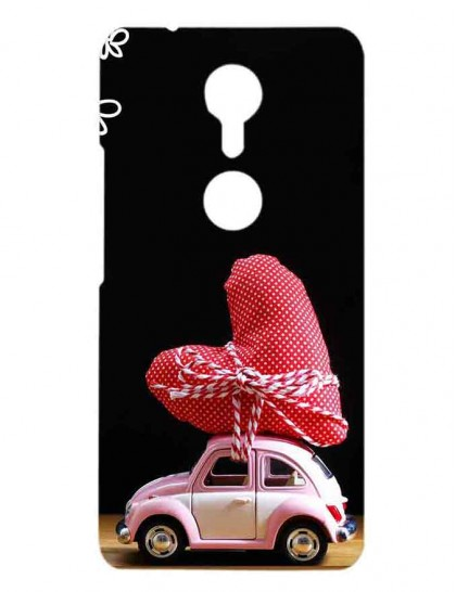 A Toy Car With Heart Shaped Pillow Tied - Gionee A1 Printed Hard Back Cover.