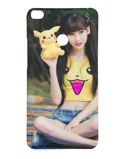 A Smart Girl With Pikachu In Hand - Mi Max 2 Printed Hard Back Cover.