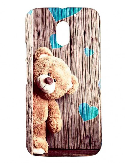 Brown Teddy With Blue Heart -  Motorola Moto E3 Power Printed Hard Back Cover.