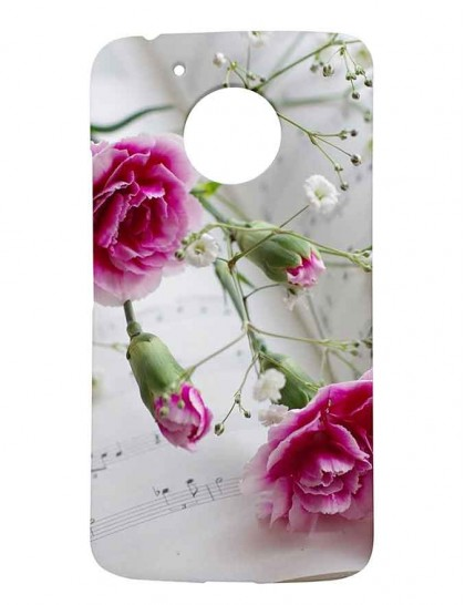 Pink Flowers On Music Notes - Motorola Moto G5 Printed Hard Back Cover.