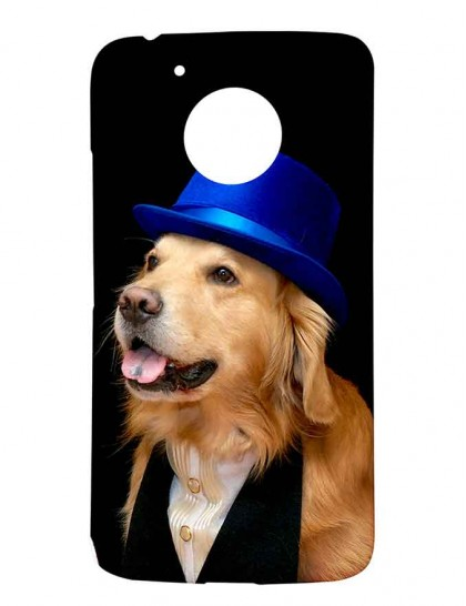 Brown Labrador With Blue Hat - Motorola Moto G5 Printed Hard Back Cover.
