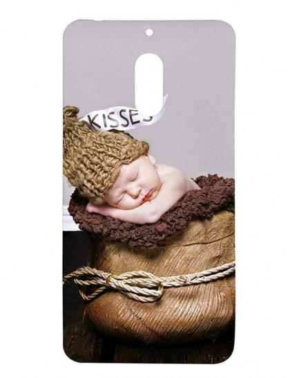 Cute Baby In woolen Bag - Nokia 6 Printed Hard Back Cover