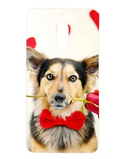 German Shepherd With Rose in Mouth - Nokia 6 Printed Hard Back Cover