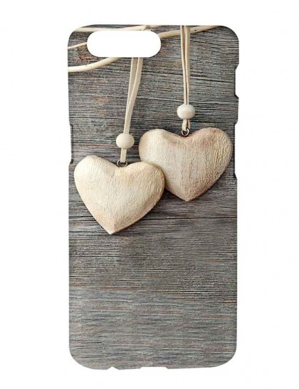 Brown Heart Pendants Wall Hangings - One Plus 5 Printed Hard Back Cover