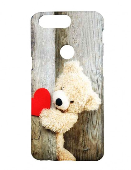 Brown Teddy Near The Wood With Red Heart - One Plus 5T  Printed Back Cover.