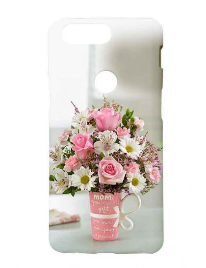 Giving Bouquet Of Flowers On Mother's Day - One Plus 5T  Printed Back Cover.
