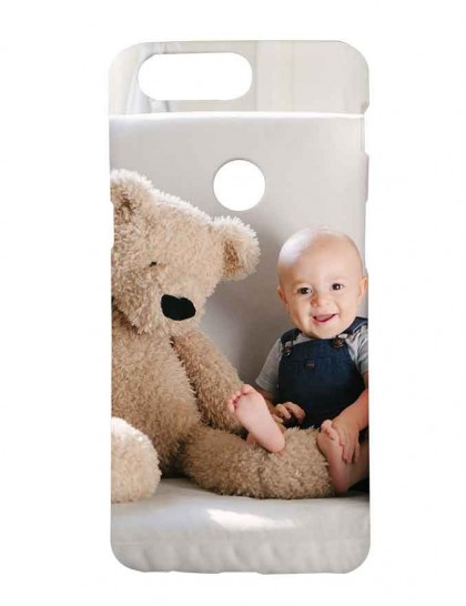 Cute Boy Beside A Big Brown Teddy - One Plus 5T  Printed Back Cover.