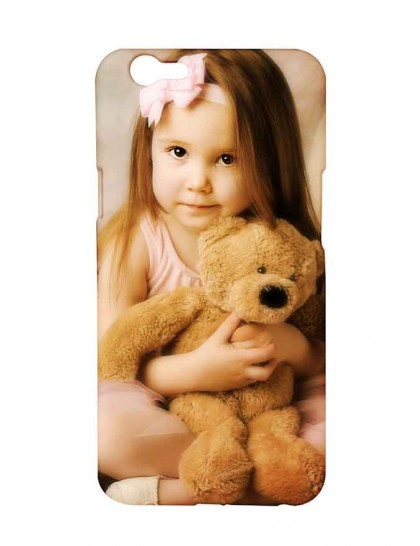 Cute Baby Girl With Teddy In Hand - Oppo F1s Printed Hard Back Cover.
