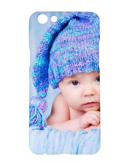 Baby With Blue Woolen Cap - Oppo F3 Printed Hard Back Cover.