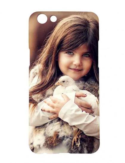 Kid Holding White Leghorn Chicken - Oppo F3 Printed Hard Back Cover.