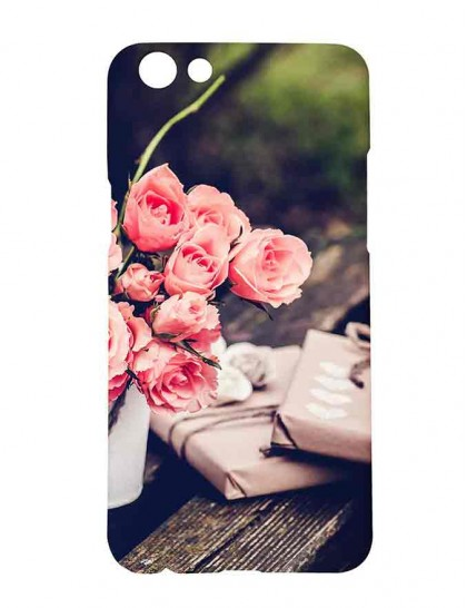 Bouquet Of Roses On Table - Oppo F3 Printed Hard Back Cover.