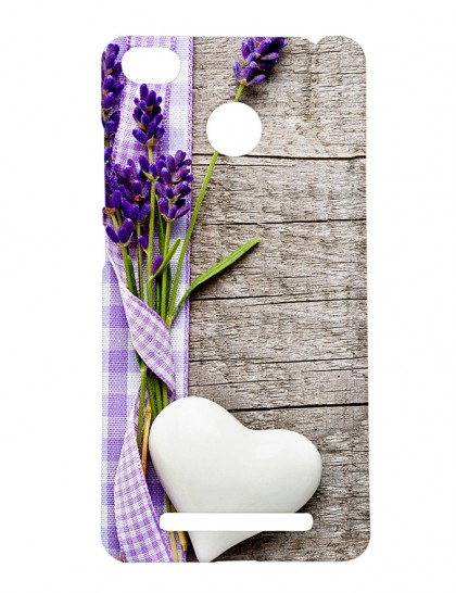 Lavender Flower Bouquet & White Heart - Xiaomi Redmi 3s Prime Printed Hard Back Cover.