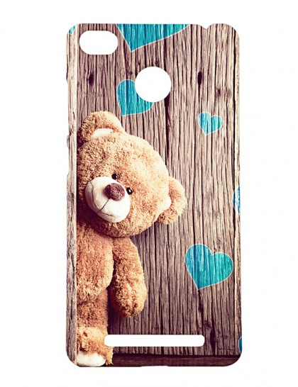 Brown Teddy Bear With Hearts - Xiaomi Redmi 3s Prime Printed Hard Back Cover.