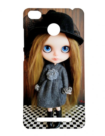 Doll With Black Hat and Blue Eyes - Xiaomi Redmi 3s Prime Printed Hard Back Cover.