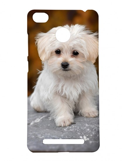 White Chrysanthemum Dog - Xiaomi Redmi 3s Prime Printed Hard Back Cover.