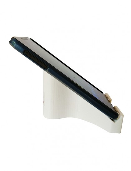 White Ribbon Shape 1 Compartments Polyester Mobile / Tablet Stand