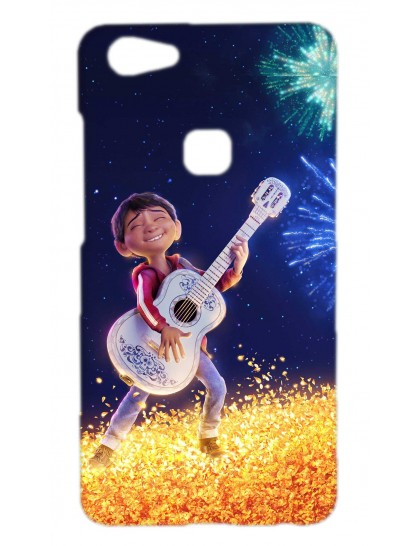 A Young Boy Playing Guitar In Moon Light - Vivo V7 Plus Printed Hard Back Cover.