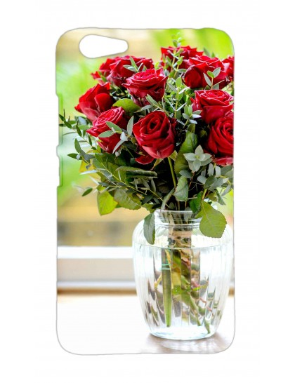 Glass Vase With Roses - Vivo Y53 / Y53i  Printed Hard Back Cover.