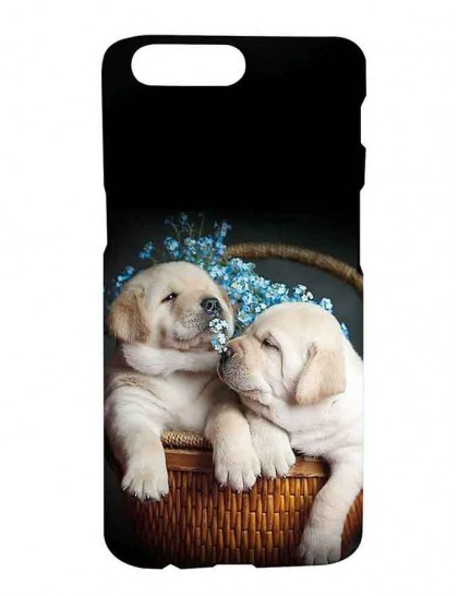 Cute Puppies In A Basket - One Plus 5 Printed Hard Back Cover