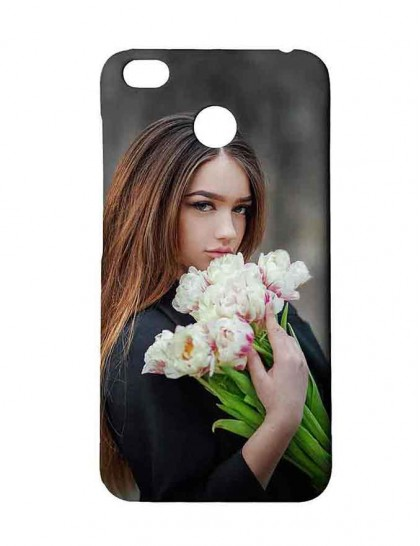 Lady With Bouquet of Flowers - Redmi 4 Printed Hard Back Cover.