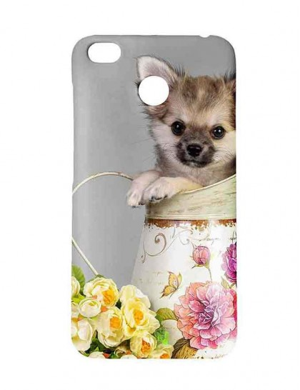 Chihuahua In Jar With Flowers Near It - Redmi 4 Printed Hard Back Cover.