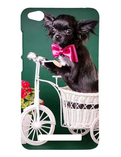 Puppy With Pink Bow Riding a Tricycle - Redmi 4A Printed Hard Back Cover.