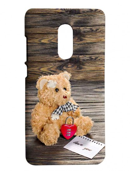 Brown Teddy On Wooden Table - Redmi Note 4 Printed Hard Back Cover.