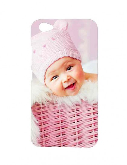 Cute Baby With Woolen Cap In A Basket - Vivo V5 Plus Printed Hard Back Cover.